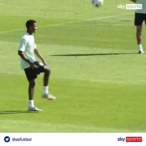 Ansu Fati and Adama Traore having fun in Spain training