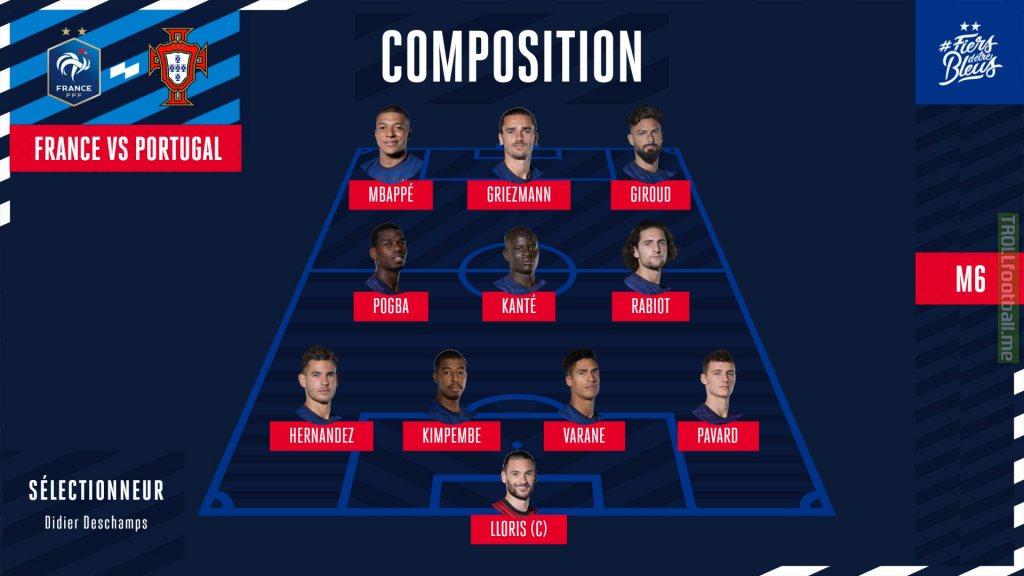 (LINEUP of FRA vs POR) La composition de nos Bleus pour affronter le Portugal !