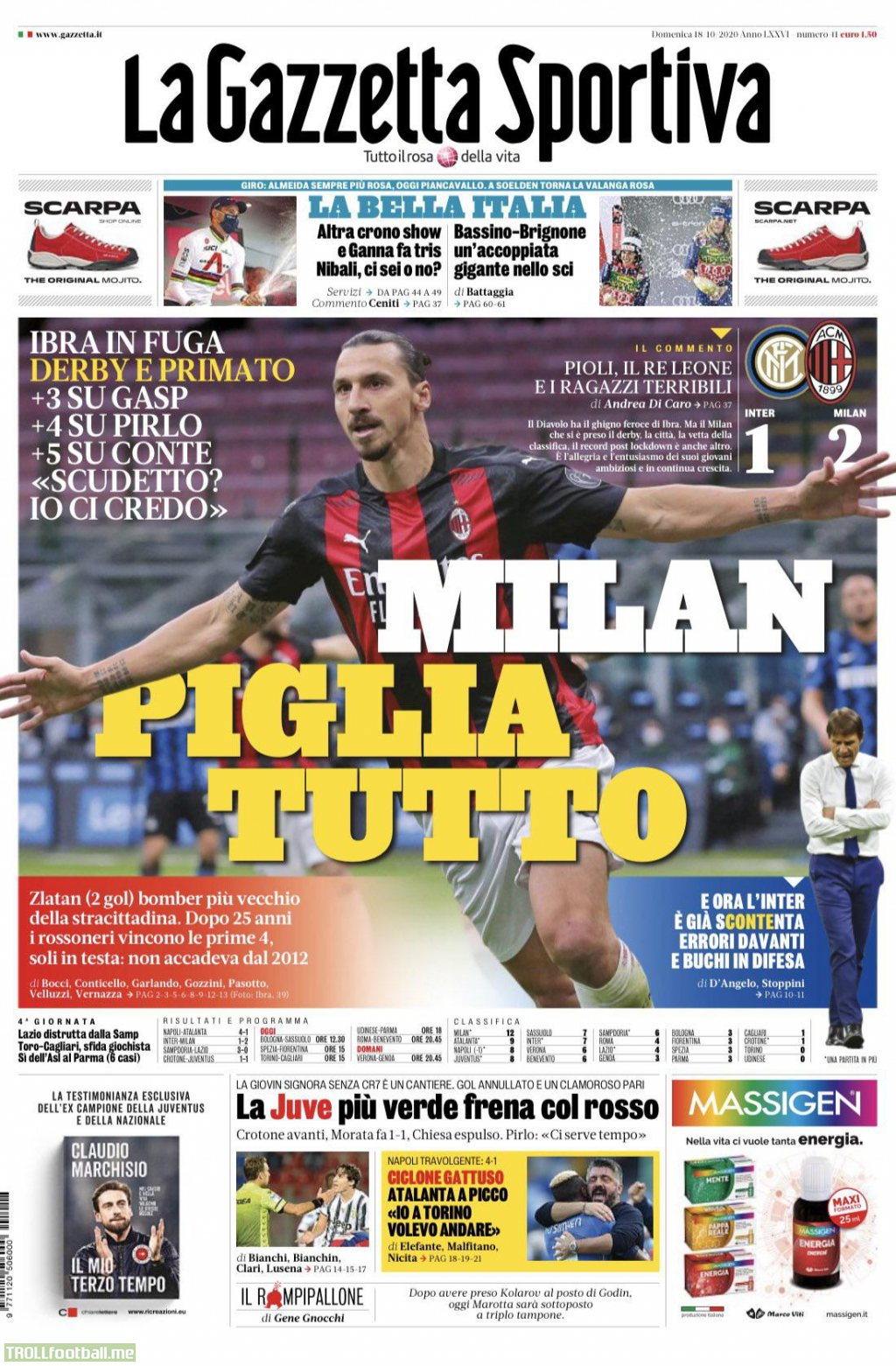 Milan takes everything, Milan win the derby & top the table, +3 from Gasp,+4 from Pirlo, +5 from Conte