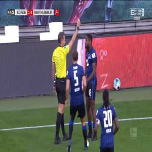Deyovaisio Zeefuik (Hertha Berlin) second yellow card vs. RB Leipzig (50')