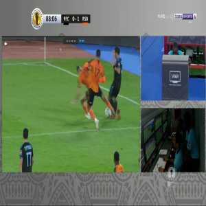 Bakr El Helali (Berkane) straight red card against Pyramids 89'