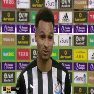 "Jacob Murphy on his point saving freekick: ""I did my research on the goalie last night in the hotel and knew anything hard and low would catch him out."""
