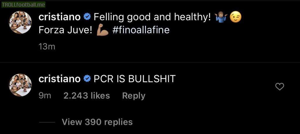 "Cristiano Ronaldo on latest Instagram post : ""PCR IS BULLSHIT"""