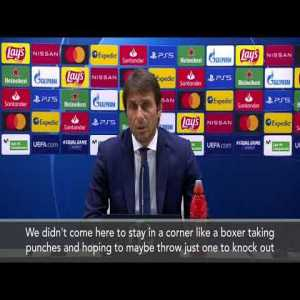 "Conte before Real Madrid game: ""We didn't come here to stay in a corner like a boxer taking punches and hoping to maybe throw just one to knock out his rival. We want to face them with the right attention and staying humble, but without any reverential fear."""