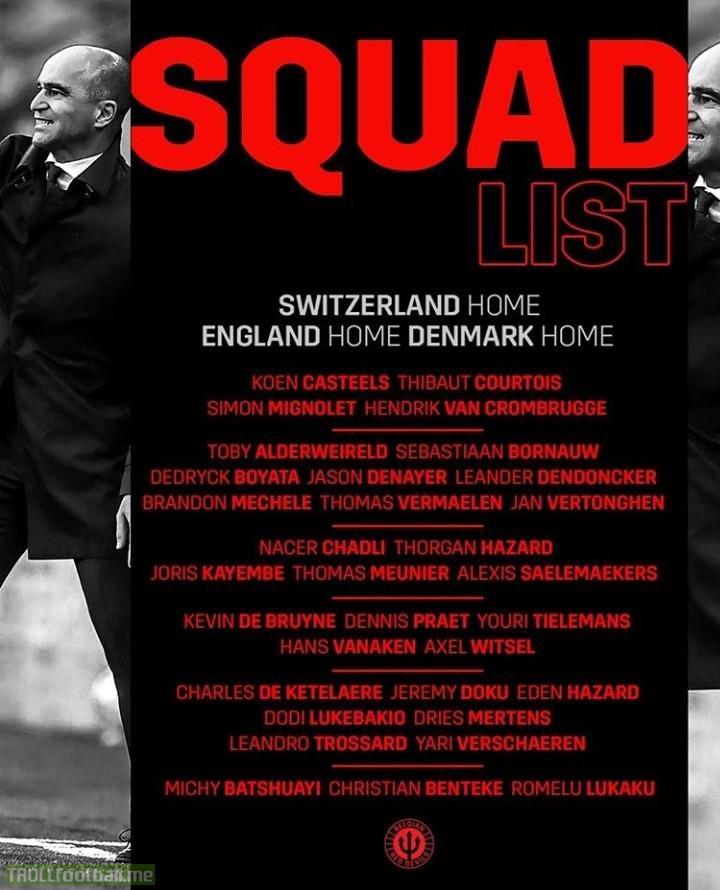 Belgium squad for games against Switzerland, England and Denmark