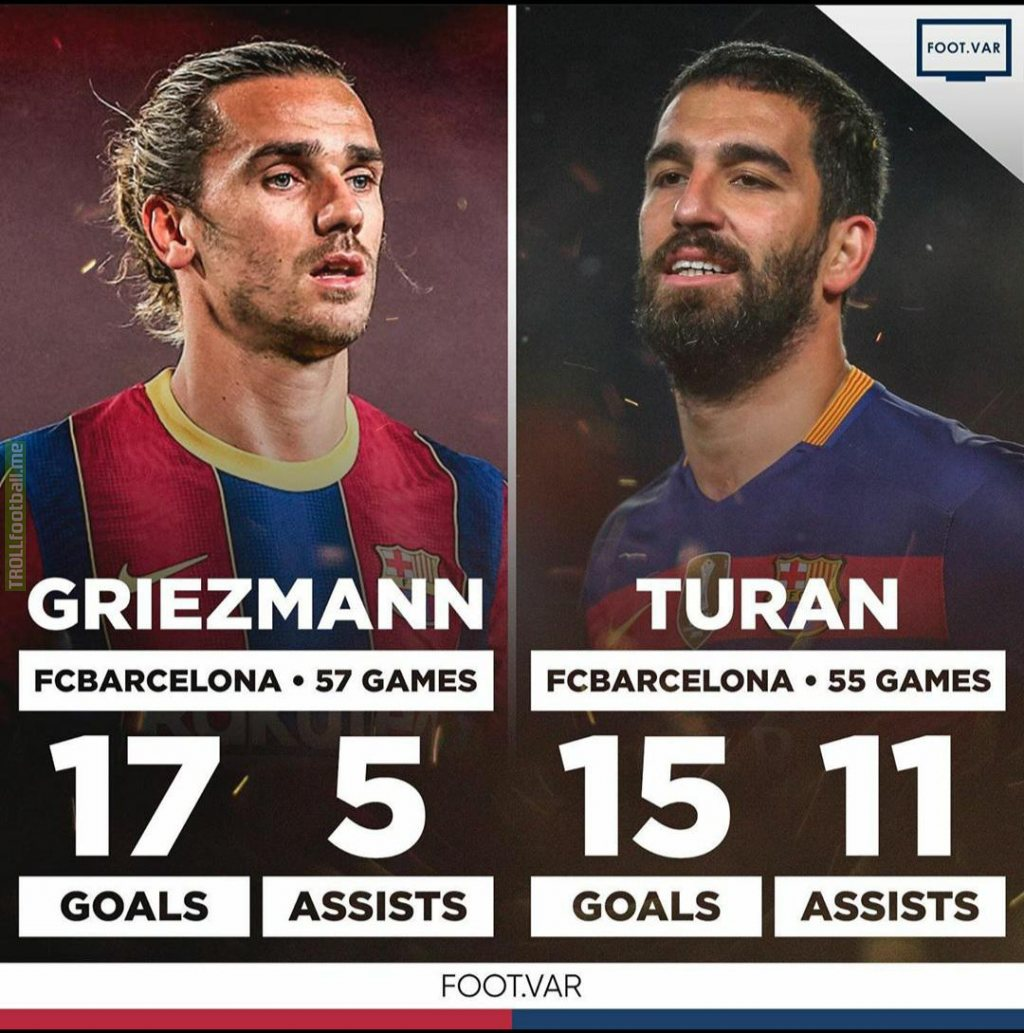 Arda Turan has more goal contributions in less games than Antoine Griezmann.
