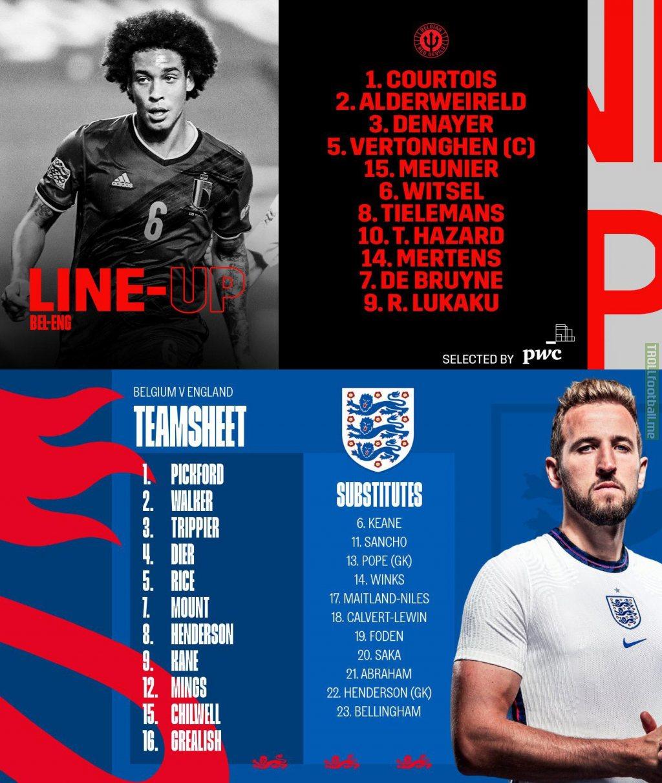 Belgium - England line-ups
