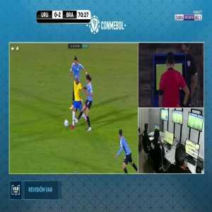 Edinson Cavani straight red card vs Brazil 71'