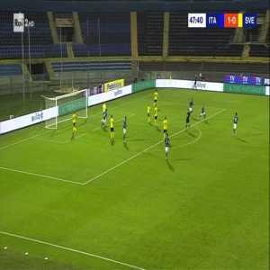 Italy U21 2-0 Sweden U21 - Giacomo Raspadori (great goal) 48'