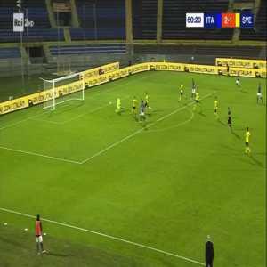 Italy U21 [3]-1 Sweden U21 - Giacomo Raspadori 61'