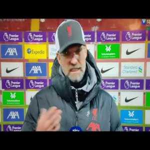 Jurgen Klopp post-match interview on game scheduling with Geoff Shreeves