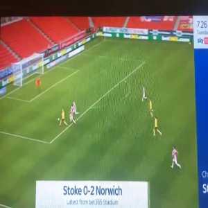 Stoke City 0 - [2] Norwich City - Teemu Pukki 27' great volley