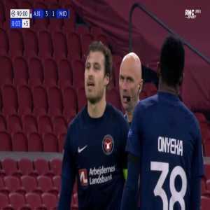 Erik Sviatchenko (Midtjylland) straight red card against Ajax 90'
