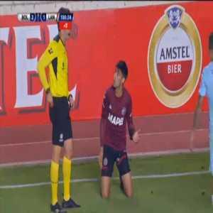 Leonel Di Placido (Lanus) second yellow card against Bolivar 90'+11'