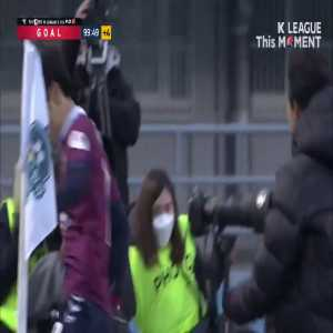 An Byong-jun scores a penalty in the 10th minute of stoppage time vs Gyeongnam to win Suwon FC promotion to K League 1