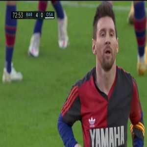 Lionel Messi dedicates his goal to Diego Maradona