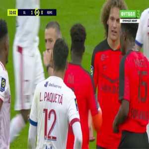 Moreto Cassama (Reims) straight red card against Lyon 32'