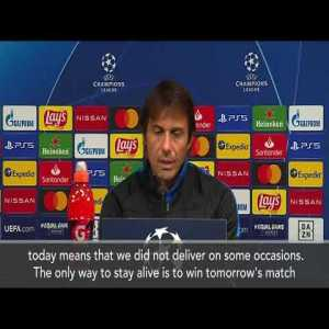 "Conte before Mönchengladbach match: ""The fact that we don't have our destiny in our hands in the Champions League means we did not deliver on some occasions. Only way to stay alive is to win the match. Borussia showed how strong they are. It won't be easy"""