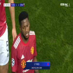 Fred (Manchester Utd) second yellow card against PSG 70'