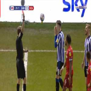 Liam Shaw (Sheffield Wednesday) straight red card against Reading 30'