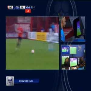 Fernando Souza (Fenix) straight red card against Independiente 45'+2'