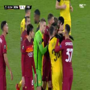 Mohamed Camara (Young Boys) straight red card against Roma 83'