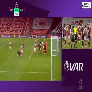 Arsenal 0-0 Burnley - Elneny yellow card VAR check 72'