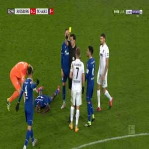 Florian Niederlechner (Augsburg) second yellow card against Schalke 53'