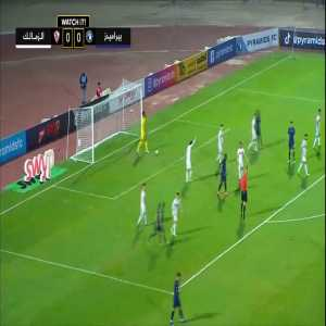 A cancelled goal (offside) in the Egyptian premier league for Pyramids FC against El Zamalek. Great turn