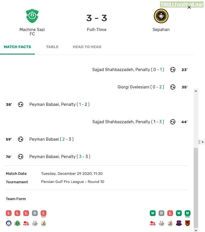 5 Penalty in a today Match of Iran IPGL, Mashinsazi 3-3 Sepahan