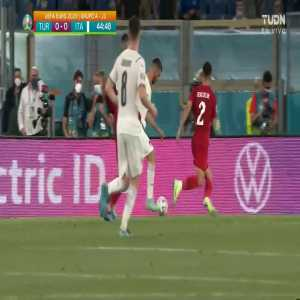 VAR check for a possible Turkey handball vs Italy - No penalty