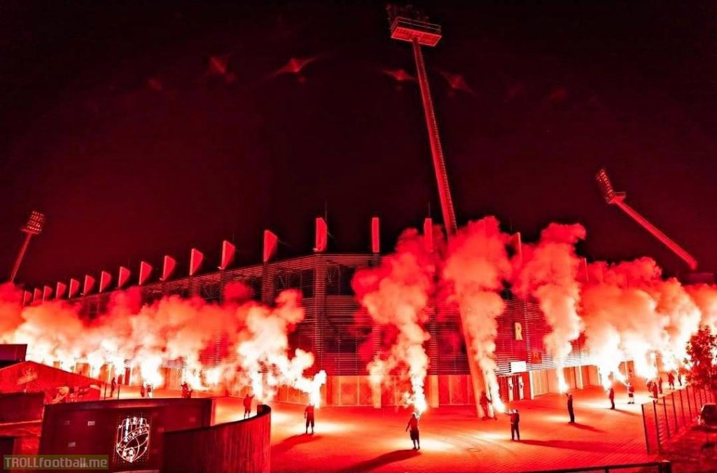 Viktoria Plzeň fans celebrating 110th anniversary of founding the club