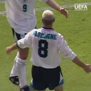 On this day 25 years ago, Paul Gascoigne scored this famous goal as England beat Scotland 2-0 at Wembley in the group stages of Euro 96.