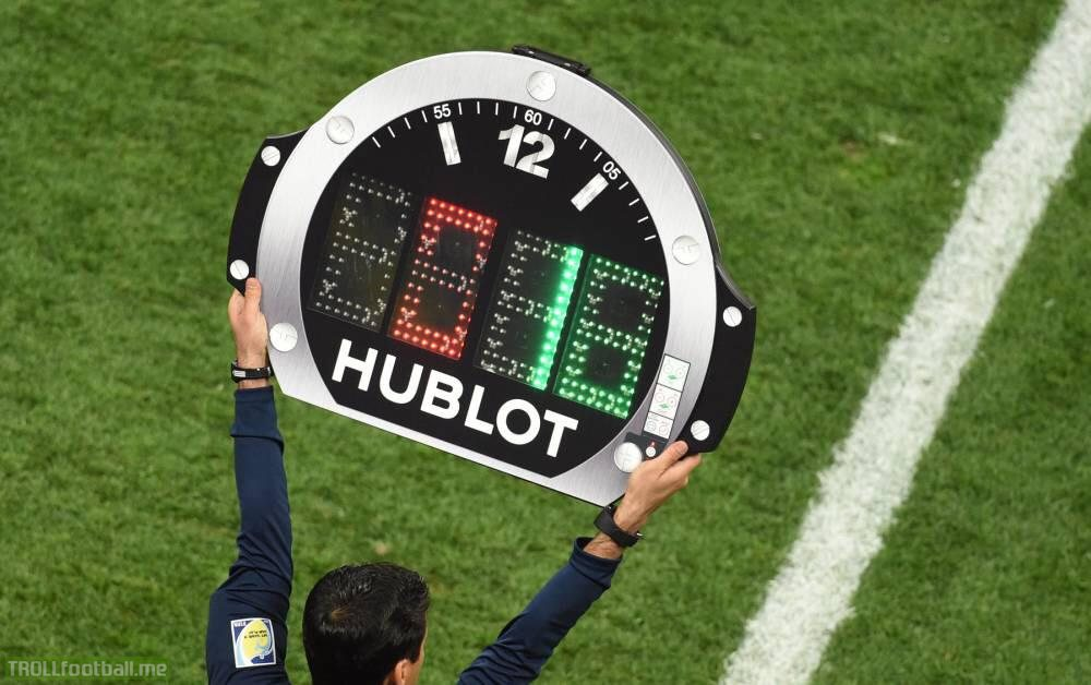 What does the numbers on the hublot clock mean? I've only recently started watching soccer.