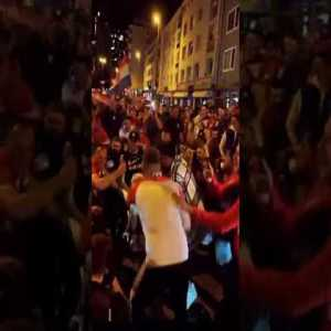 Frankfurt police celebrates with croatian fans