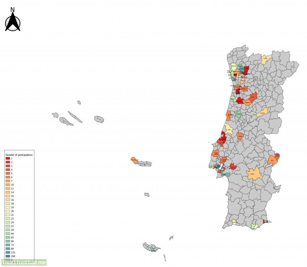 Number of participations in portuguese top flight per municipalitie