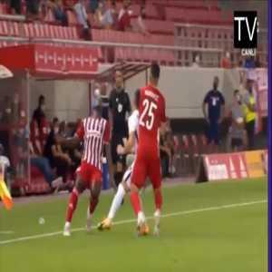 Mady Camara (Olympiakos) straight red card against Neftci Baku 43'