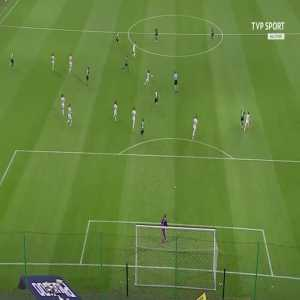 Legia Warsaw's Bartosz Kapustka injuring himself while celebrating scoring the opening goal in the 3rd minute, in a 2-1 victory against Estonian side Flora Tallinn.