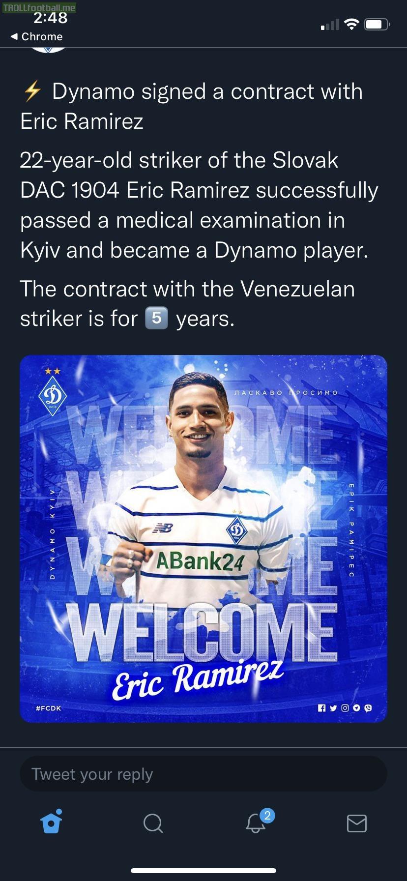 [dynamokyiven] Eric Ramirez 🇻🇪 signs 5 year deal with Dynamo Kyiv