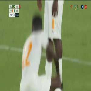 Eboue Kouassi (Ivory Coast) second yellow card against Brazil 79'