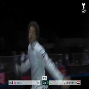 Egyptian fencer doing the Ronaldo Siuuu celebration at the Olympics