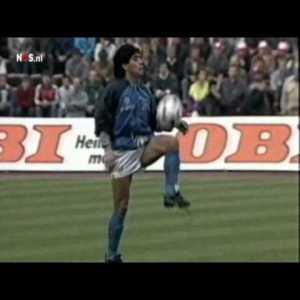 Maradona warm-up before UEFA Cup Semi Final