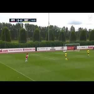 Eddie Nketiah makes it 1-0 to Arsenal against Watford this afternoon