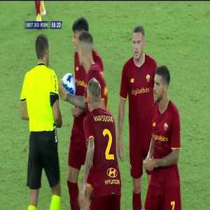 Lorenzo Pellegrini and Jose Mourinho red cards for Roma vs Real Betis 59'