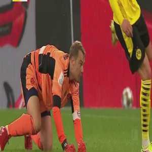 Erling Haaland challenge on Manuel Neuer