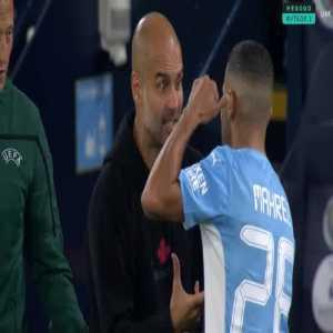 Pep screaming at Mahrez