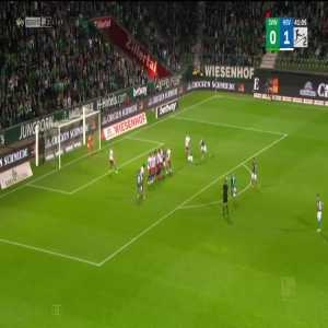 Werder Bremen - Hamburger SV - Marwin Ducksh disallowed goal due to Werder player standing in wall