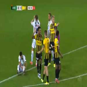Daniel van Kaam (Groningen) straight red card against Vitesse 45'+3'