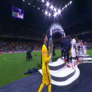 Hugo Lloris lifts the Nations League trophy