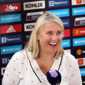 """[OptaJoe] """"Chelsea have scored in each of their last 56 @BarclaysFAWSL matches, a competition-record run that started in October 2018. It is now also longer than the record run in the Premier League, a 55-game stretch by Arsenal between May 2001 and November 2002."""""""